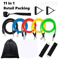 11 PIECE 11PCS RESISTANCE BANDS TUBES SET YOGA GYM CROSSFIT FITNESS EXERCISE