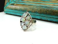 Sterling Silver 925  Chalcedony Gemstone Unique Filigree Modern Size 6 Ring