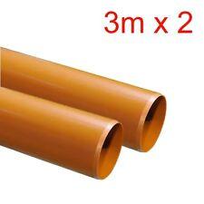 """110mm (4 """") in sotterraneo Plain terminata drenaggio Tubo in plastica 2 x 3 metri (6 MB Pack)"""