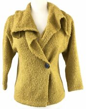 Evan Picone Sz PM Chartreuse Yellow Knobby Knit Cardigan Sweater