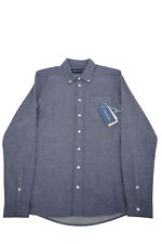 Fisher & Baker NWT Sport Shirt Size M In Solid Denim Blue Silk Wool Cotton Blend