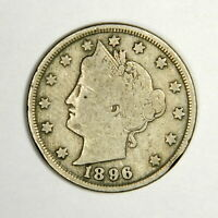 "1896 Liberty ""V"" Nickel , FINE , US Coin!"