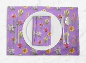 S4Sassy Lily & Lotus Floral Printed Dining Tablemats With Napkins Set-FL-899E