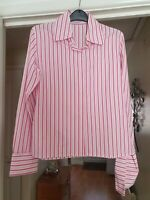Fab TM Lewin Pink Mix Striped Smart Blouse, Fitted, Size 10, VGC