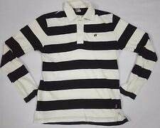 HANG TEN STRIPED POLO RUGBY SHIRT T LONG SLEEVE M SURF SKATE SAILING Vtg Style