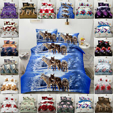 3D Effect 4 PCs Printed New Duvet Cover Luxury Complete Bedding Set All UK Sizes