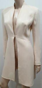 HERVE LEGER PARIS Cream Silk Long Length Lined Formal Evening Blazer Jacket UK8