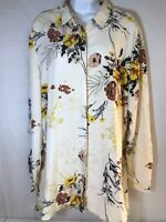 I Jeans By Buffalo Women's Blouse Yellow Tan Cream Floral Size XL Long Sleeve