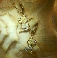 9.5MM HAWAIIAN 2TONE SOLID 14K YELLOW GOLD DIAMONDCUT MERMAID LEVERBACK EARRINGS