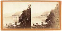 Bellagio Como Lombardia Italia Foto Stereo PL48L3n Vintage Albumina c1865