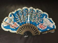 Blue Fan With Phoenix Print