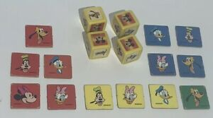 GAME PARTS PIECES Donald Goofy Daisy Mickey Yahtzee Jr. 4 Dice 13 Tiles