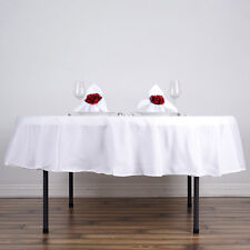 """WHITE 90"""" ROUND POLYESTER TABLECLOTH Wedding Party Reception Dinner Decorations"""