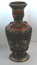 ANTIQUE 19c MONGOLIAN SILVERED COPPER HIGHLY DECORATED REPOUSSE DRAGON VASE