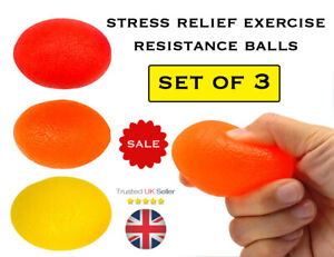 Hand Exercise Resistance Balls Set of 3 Squeezing Wrist Finger Strengthening NEW