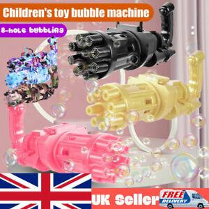 20CM Automatic Gatling Bubble Cooling Fun Soap Water Machine Gun Toys Summer UK