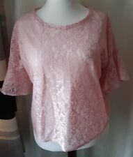 Women's pink 3/4 sleeve lace top, size 20, Primark