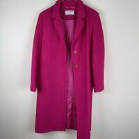 Helene Berman Fuschia Pink Wool Blend Overcoat Slim College UK10 RRP £195