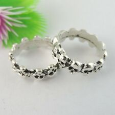 39059 Antiqued Silver Vintage Alloy Cute Skull Cameo Setting Rings 16*16mm 18PCS