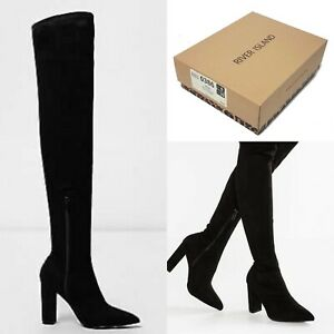River Island Black Pointed Toe Skinny Over The Knee Heel Boots UK2-UK9 RRP £75