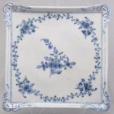 Meissen Marcolini Tablett, sign. Möbius, blaue Blumenranken, 36cm, 1774-1788