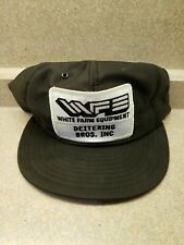 White Farm Equipment Hat Ball Cap Advertising Trucker Patch Made In USA