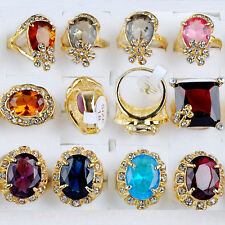 Wholesale Jewelry Lots 5pcs Gold Plated Zircon Big Natural Stone Rings