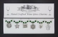 Christmas Set of 6 Silver Wine Glass Charms Handmade Just for You - Set 2
