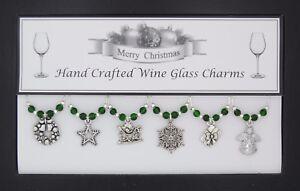 Christmas Santa Sleigh Set of 6 Silver Wine Glass Charms Handmade - Set 2