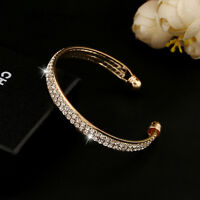 Fashion Style Gold Crystal Rhinestone Bangle Cuff Bracelet Jewelry New Women tgs