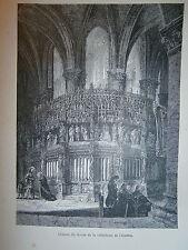 Gravure 19° Cathédrale de Chartres cloture du choeur  Religion Catholique