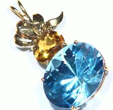 Vintage 14K Solid Gold Natural London Blue Topaz Engagement Necklace Designer