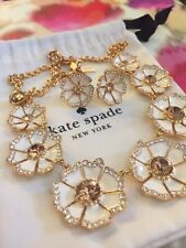 Kate Spade Crystal Pave Garden Grove White Gold Hibiscus Necklace & Earrings SET