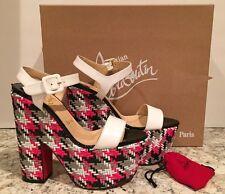 Christian Louboutin Bella Tige Sandals Platform Heel White Fluo Rose 37/6.5 $995