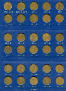 UNITED STATES LINCOLN CENTS  COLLECTION COMPLETE 1909/1940 1909S 1909S VDB 1914D