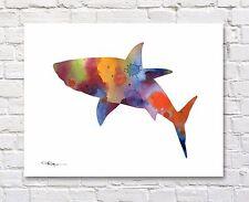Shark Art Print Abstract Watercolor Painting 11 x 14 Wall Decor