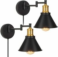 Vintage Swing Arm Wall Light Wall Sconce Bedroom Bedside Reading Light Set of 2