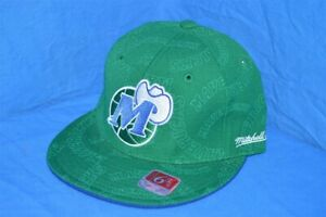 NEW DALLAS MAVERICKS ALL OVER WOOL MITCHELL & NESS GREEN FITTED CAP HAT 6 3/4
