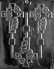 R028 Fancy Cross Lolly Chocolate Candy Mold w/instructions
