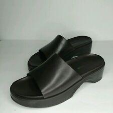 Vtg 90s Ann Taylor Chunky Platform Slide Sandals Size 9.5 Brown Leather