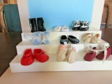 LOT OF 9 PAIR DOLL SHOES, SLIPPERS, BOOTIES