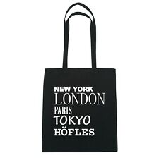 New York, London, Paris, Tokyo höfles - Borsa di iuta Borsa - colore: Nero