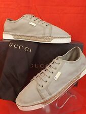 GUCCI MEN'S LIGHT KHAKI CANVAS SCRIPT LOGO ESPADRILLE 368487 SNEAKER 9.5 10.5