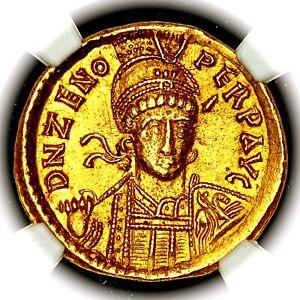 474-491 AD Zeno Eastern Roman Empire Gold AV Solidus NGC Ch AU 5/5 4/5