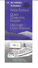 BC FERRIES INSIDE PASSAGE-QUEEN CHARLOTTE ISLANDS 3-2-2000 SCHEDULES-ROUTE MAPS