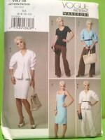 Vogue Sewing Pattern 8718 Misses Ladies Dress Jacket Pants Top Size 6-12 Uncut