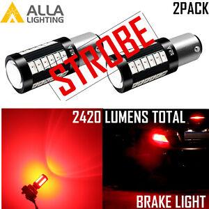 Alla P21 7528 Legal Red Strobe 33-LED Brake Light Bulb|Parking|Tail|Turn Signal