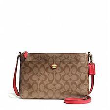 Coach F51065 Persimmon Peyton East West Signature Fabric Swingpack Bag #ShopDrop