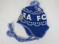 Chelsea FC Football Club Knit Blue White Hat Cap BeanieTassels Pom Pom Winter NW