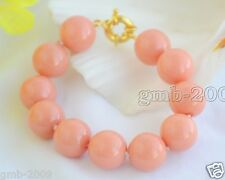 "RARE 8"" 10MM REAL CORAL PINK SOUTH SEA SHELL PEARL BANGLE BRACELET"